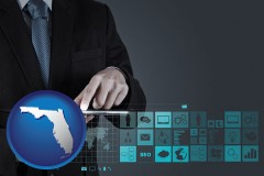 florida map icon and information technology concepts