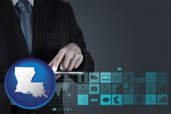 louisiana map icon and information technology concepts