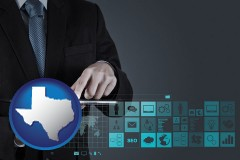 texas map icon and information technology concepts