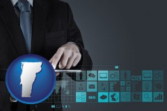 vermont map icon and information technology concepts