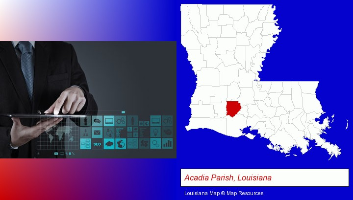 information technology concepts; Acadia Parish, Louisiana highlighted in red on a map