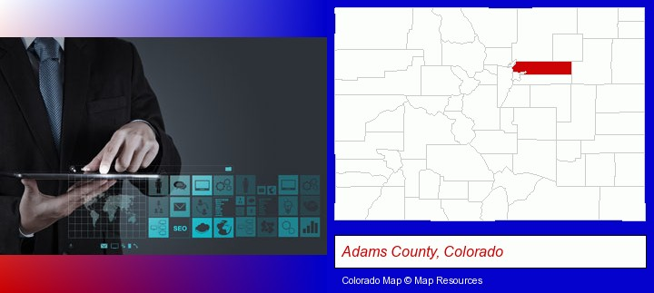 information technology concepts; Adams County, Colorado highlighted in red on a map