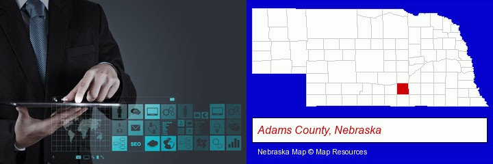 information technology concepts; Adams County, Nebraska highlighted in red on a map