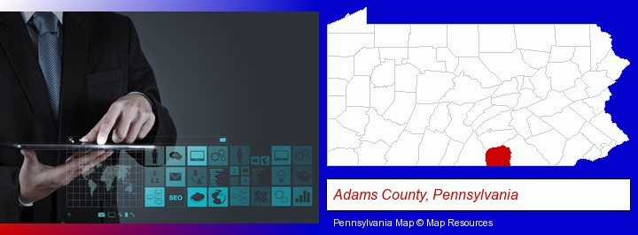information technology concepts; Adams County, Pennsylvania highlighted in red on a map