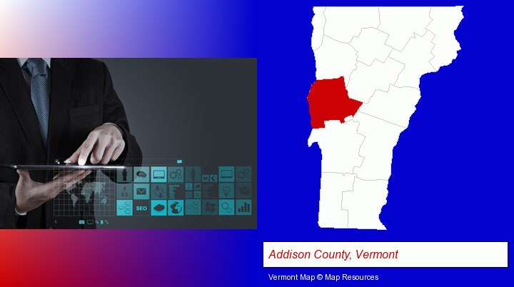 information technology concepts; Addison County, Vermont highlighted in red on a map