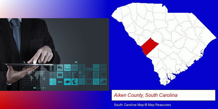 information technology concepts; Aiken County, South Carolina highlighted in red on a map