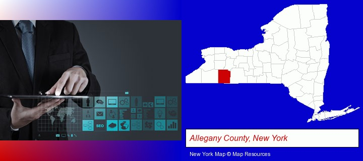 information technology concepts; Allegany County, New York highlighted in red on a map