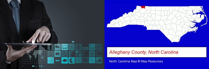 information technology concepts; Alleghany County, North Carolina highlighted in red on a map