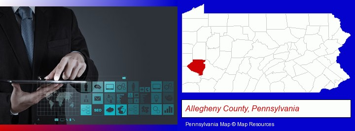 information technology concepts; Allegheny County, Pennsylvania highlighted in red on a map