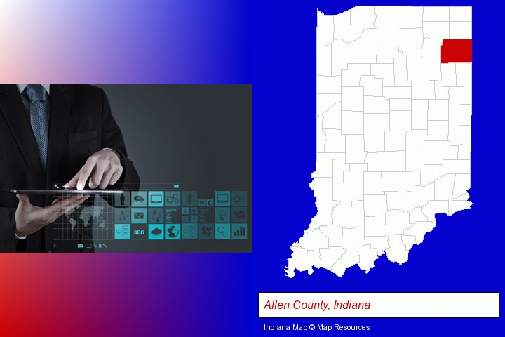 information technology concepts; Allen County, Indiana highlighted in red on a map