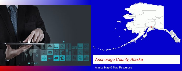 information technology concepts; Anchorage County, Alaska highlighted in red on a map