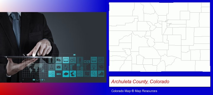 information technology concepts; Archuleta County, Colorado highlighted in red on a map