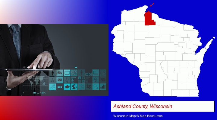 information technology concepts; Ashland County, Wisconsin highlighted in red on a map
