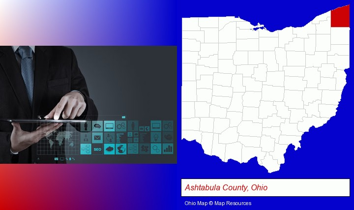 information technology concepts; Ashtabula County, Ohio highlighted in red on a map