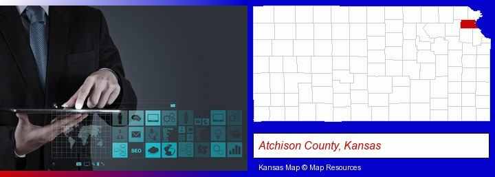 information technology concepts; Atchison County, Kansas highlighted in red on a map