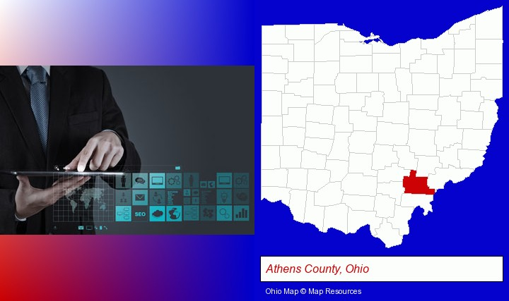 information technology concepts; Athens County, Ohio highlighted in red on a map