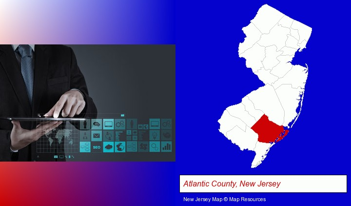 information technology concepts; Atlantic County, New Jersey highlighted in red on a map