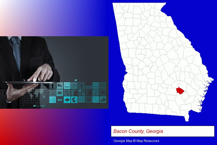information technology concepts; Bacon County, Georgia highlighted in red on a map