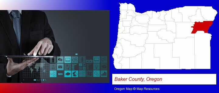 information technology concepts; Baker County, Oregon highlighted in red on a map