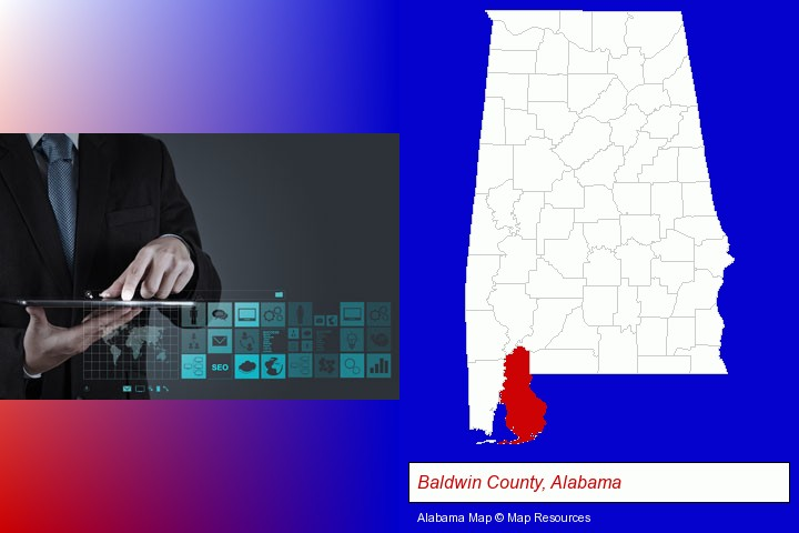 information technology concepts; Baldwin County, Alabama highlighted in red on a map