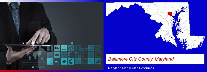 information technology concepts; Baltimore City County, Maryland highlighted in red on a map