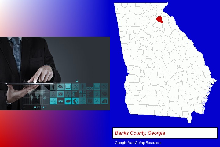 information technology concepts; Banks County, Georgia highlighted in red on a map