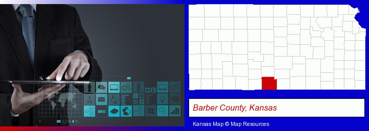information technology concepts; Barber County, Kansas highlighted in red on a map