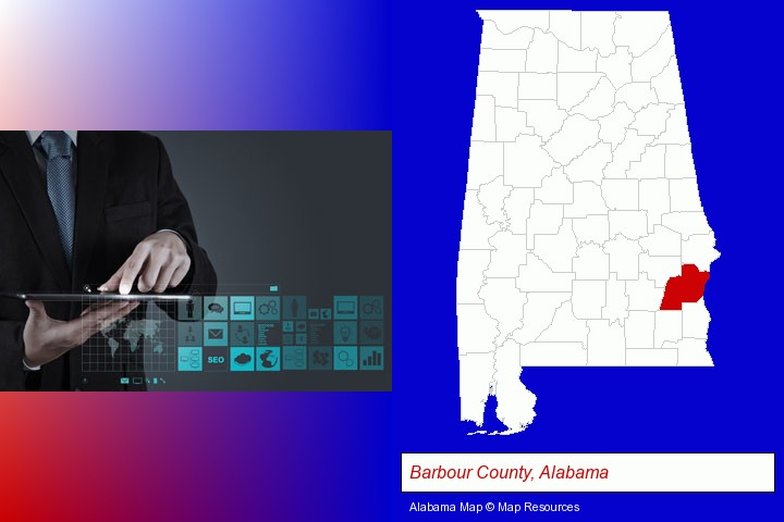 information technology concepts; Barbour County, Alabama highlighted in red on a map