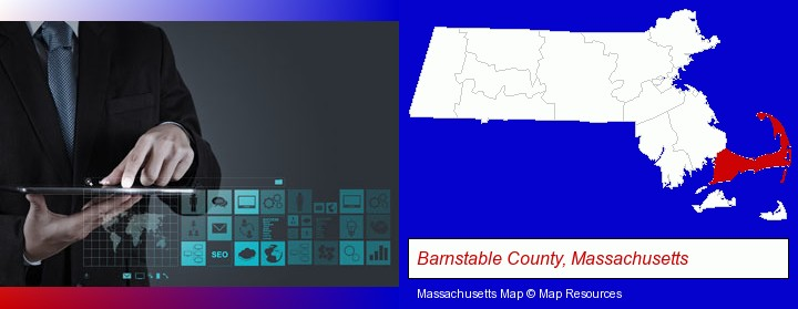 information technology concepts; Barnstable County, Massachusetts highlighted in red on a map