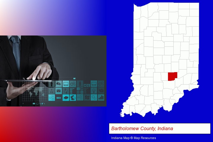 information technology concepts; Bartholomew County, Indiana highlighted in red on a map
