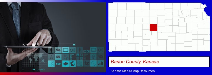 information technology concepts; Barton County, Kansas highlighted in red on a map