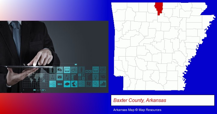 information technology concepts; Baxter County, Arkansas highlighted in red on a map
