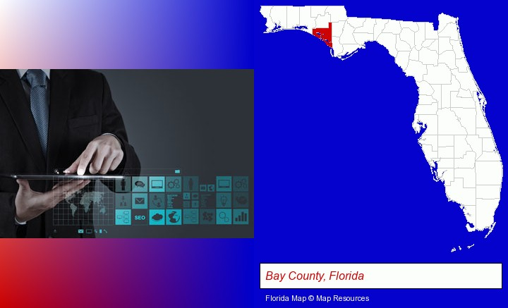 information technology concepts; Bay County, Florida highlighted in red on a map