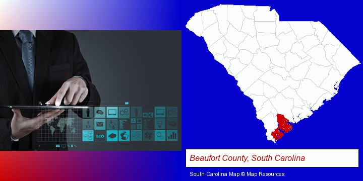 information technology concepts; Beaufort County, South Carolina highlighted in red on a map