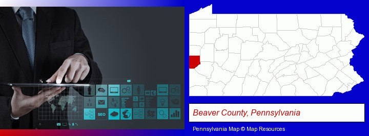 information technology concepts; Beaver County, Pennsylvania highlighted in red on a map