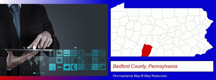 information technology concepts; Bedford County, Pennsylvania highlighted in red on a map