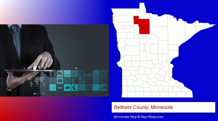 information technology concepts; Beltrami County, Minnesota highlighted in red on a map