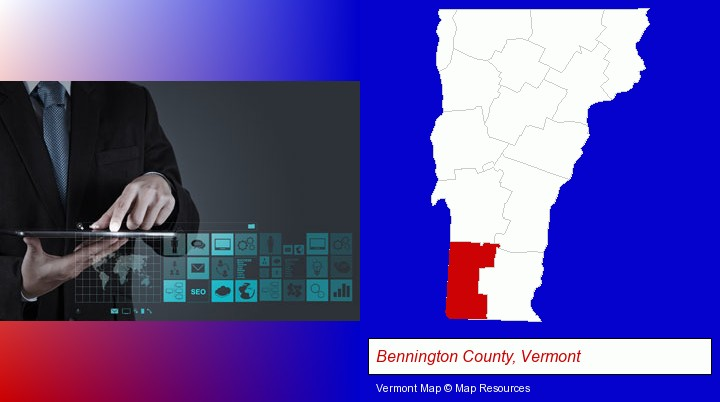 information technology concepts; Bennington County, Vermont highlighted in red on a map