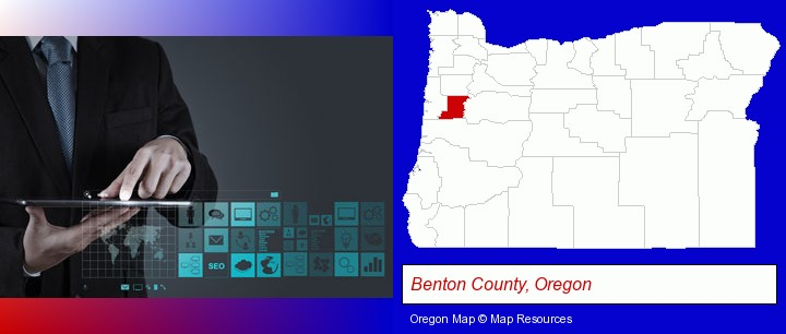 information technology concepts; Benton County, Oregon highlighted in red on a map