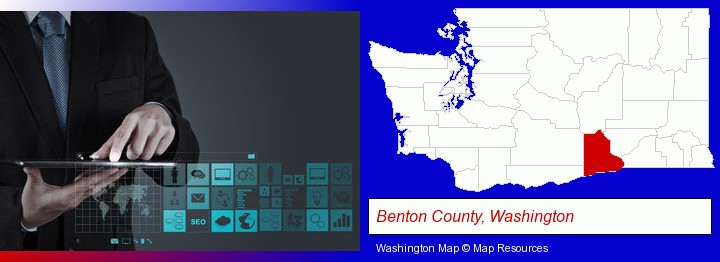 information technology concepts; Benton County, Washington highlighted in red on a map