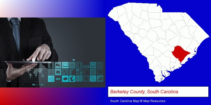 information technology concepts; Berkeley County, South Carolina highlighted in red on a map
