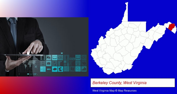 information technology concepts; Berkeley County, West Virginia highlighted in red on a map
