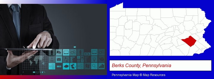 information technology concepts; Berks County, Pennsylvania highlighted in red on a map