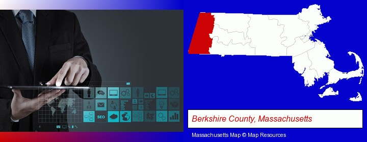 information technology concepts; Berkshire County, Massachusetts highlighted in red on a map