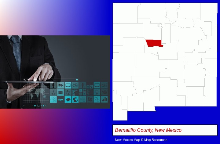 information technology concepts; Bernalillo County, New Mexico highlighted in red on a map