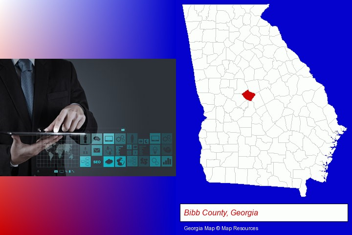 information technology concepts; Bibb County, Georgia highlighted in red on a map