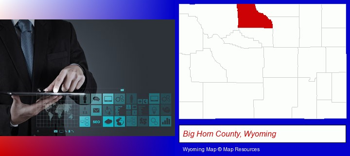 information technology concepts; Big Horn County, Wyoming highlighted in red on a map