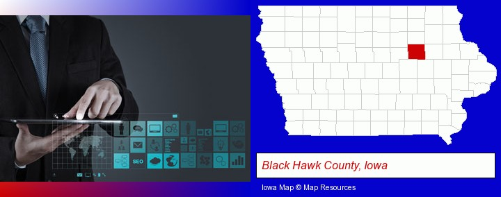 information technology concepts; Black Hawk County, Iowa highlighted in red on a map