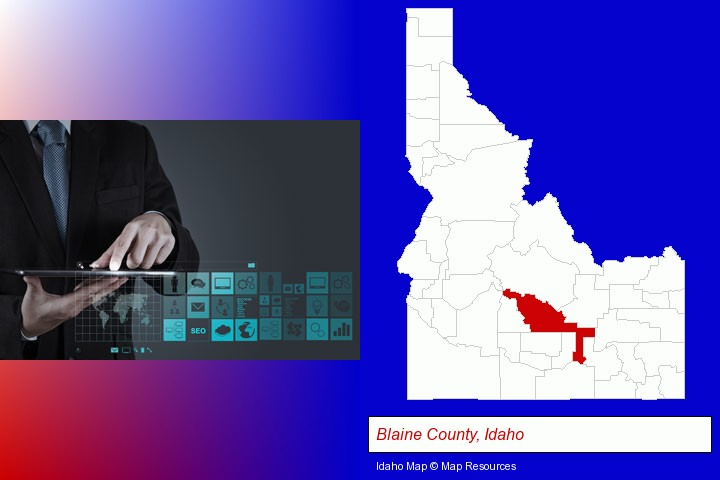 information technology concepts; Blaine County, Idaho highlighted in red on a map