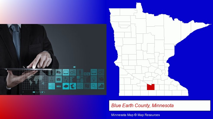 information technology concepts; Blue Earth County, Minnesota highlighted in red on a map